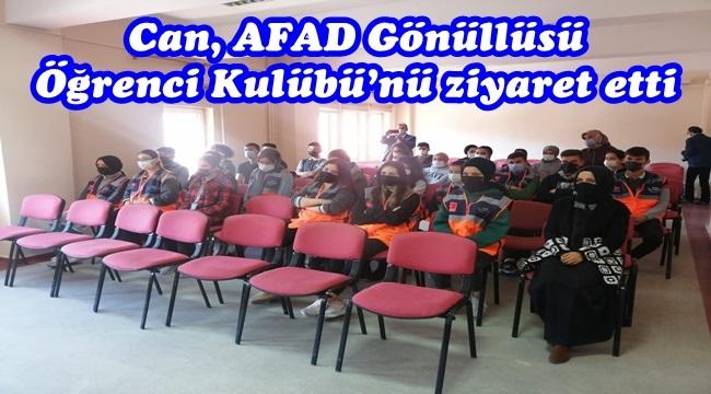 Can, AFAD Gönüllüsü Öğrenci Kulübü'nü ziyaret etti